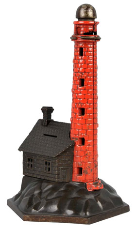 Painted cast-iron lighthouse mechanical bank, 10½ inches tall, working and all original, $11,000. Dan Morphy Auctions image.