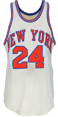 1969-70 Bill Bradley New York Knicks game-used NBA Finals home jersey, worn during series-clinching game, photo match, accompanied by letter of provenance, reserve $5,000. Grey Flannel Auctions image.