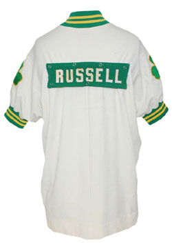 1968-69 Bill Russell Boston Celtics worn home warm-up jacket, Championship season, final season, $84,000. Grey Flannel Auctions image.