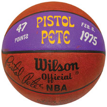 Feb. 8, 1975 signed Pete Maravich 47-point ball, $33,000. Grey Flannel Auctions image.