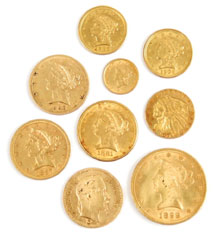 Nineteenth-century gold coins of various denominations were offered in the sale, including an 1899 $10 gold piece (lower right), which sold for $660. Stephenson's Auctions image.