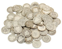A grouping of Barber dimes from the late 19th century/early 20th centuries sold as one lot for  $1,210. Stephenson's Auctions image.
