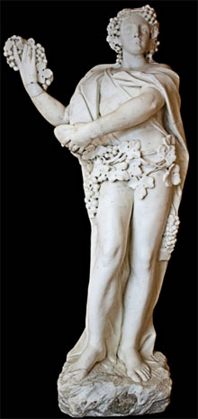 Life-size 84-inch Neapolitan statue of Bacchus (Dionysus), mid-18th century, marble on black granite base, estimate $20,000-$30,000. Austin Auction image.