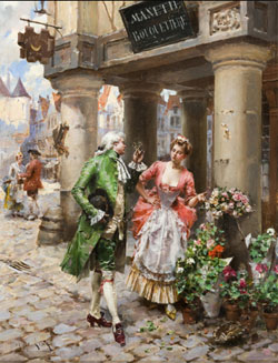 Henry Lesur, The Flower Vendor, mid-19th century, $2,500-$3,500. Quinn's Auction Galleries image. Quinn's Auction Galleries image.