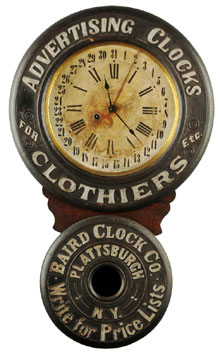 "Advertising clock created by Baird to advertise its own company; book example, considered ""king of all advertising clocks,"" estimate $20,000-$30,000. Morphy Auctions image."