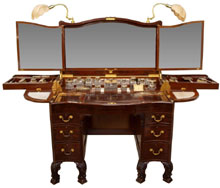 "An extraordinary circa-1930 ""Beau Brummel"" dressing table with 30-piece Art Deco silver and cut glass vanity set produced by Goldsmiths & Silversmiths Co. Ltd., London. Estimate $20,000-$25,000. Austin Auction image."