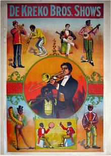 Circa-1900 DeKreko Bros. black-face minstrels vaudeville show one-sheet poster. Mosby & Co. image.