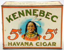 Kennebec Havana Cigar tin store bin with image of Indian chief on three sides, estimate $2,000-$4,000. Morphy Auctions image.