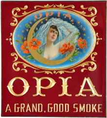 Opia Cigars reverse-on-glass sign with embossed flowers and gold-foil lettering, near mint, 10 inches by 9 inches, estimate $1,000-$1,500. Morphy Auctions image.
