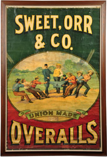 Sweet, Orr & Co. Overalls lithographed heavy paper advertising sign, 19th century, with United Garment Works of America label in center, only known example, estimate $2,500-$10,000. Morphy Auctions image.