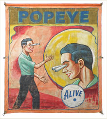 Circa-1950 Popeye sideshow banner by Snap Wyatt, from a group of more than 40 sideshow banners in Mosby & Co.'s sale. Mosby & Co. image.