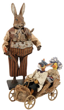 Clockwork cloth-dressed rabbit nodder with three baby nodders, 21 inches tall, estimate $15,000-$20,000; rabbit chauffeur and lady duck passenger in loofah touring car with wood wheels, 12½ inches long, estimate $8,000-$10,000. Both toys formerly in the collection of the Mary Merritt Doll Museum. Noel Barrett image.
