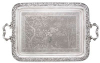 Chinese silver export tray, Wang Hing & Co., pierce carved dragon design, 145.87 ozt., sold through LiveAuctioneers.com for $17,360. Image courtesy Leslie Hindman Auctioneers.