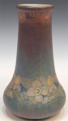 Newcomb College art pottery vase, New Orleans, 1914, 8½ inches tall, Joseph Meyer potter's mark and cipher of decorator Henrietta Bailey. Estimate $4,000-$6,000. Austin Auction Gallery image.