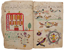 Two fraktur pages from an 1875 youth diary created by siblings Jonathan and Catharine King of Lancaster County, Pa., 42 pages total (25 illustrated) describing daily chores on the farm, attending school, and play time. Purchased by consignor in Pennsylvania in the 1970s. Estimate $2,000-$4,000. Austin Auction Gallery image.