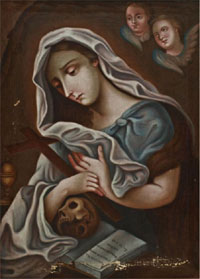 The Repentant Magdalene, Mexican, 19th century, oil on canvas, sight: 17¾ inches high by 13 inches wide, retains original frame. Estimate $400-$600. Austin Auction Gallery image.