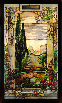 Tiffany Studios stained-glass window authenticated by Dr. Egon Neustadt, 43 inches by 72 inches. Estimate $125,000-$200,000. Morphy Auctions image.