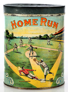 Home Run Cigar tin with colorful baseball theme, one of few known examples, top lot of the sale at $18,400. Morphy Auctions image.
