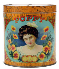 Poppy Cigar tin, rare California tin made by American Can Co., $3,450. Morphy Auctions image.