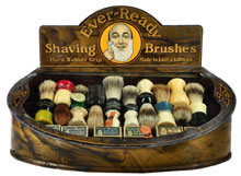 Ever-Ready Shaving Brushes store display with 20 brushes and six packs of razor blades, $5,750. Morphy Auctions image.