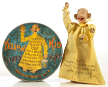 Lot of two Yellow Kid items including Ginger Wafer tin and puppet/doll on stand with celluloid cigarette pin attached to gown, $10,350. Morphy Auctions image.