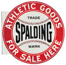 Porcelain flange sign advertising Spalding Athletic Goods, one of three known examples, $7,500. Morphy Auctions image.