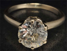14K white gold ring with 2.06-carat diamond solitaire. Estimate $10,000-$15,000. Morphy Auctions image.