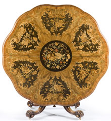 English walnut and marquetry inlaid tilt-top center table, mid 19th century, manner of Edward Holmes Baldock (English, 1777-1845). Estimate $8,000-$12,000. Quinn's Auction Galleries image.