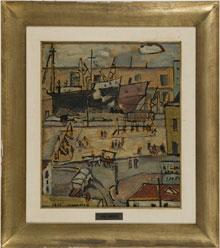 Jose Gurvich (Lithuanian/Uruguayan, 1927-1974), Puerto de Montevideo, 1950, oil on canvas, 19 by 16 inches (sight). Estimate $13,000-$15,000. Quinn's Auction Galleries image.