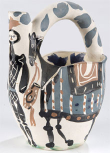 Madoura/Pablo Picasso (Spanish, 1881-1973) earthenware pitcher, Cavalier and Horse, 8¾ inches high, circa 1952, 28/300, Madoura Plein Feu pottery stamps. Estimate $4,000-$6,000. Quinn's Auction Galleries image.