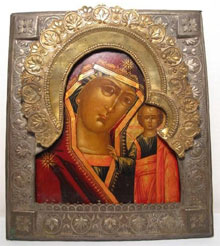 19th-century Russian icon The Kazan Mother of God and The Christ Child delivering a blessing, 8 inches by 9 inches. Estimate $1,200-$1,800. Auctions Neapolitan image.