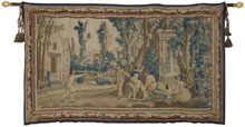 Circa-1850 Louis XV Aubusson fete champetre tapestry, wool and silk, 7 ft. by 12 ft., ex Mayorcas Collection of Tapestries and Textiles. Estimate $15,000-$25,000. Quinn's Auction Galleries image.