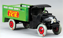 Chein Hercules ice truck with original box, 19½ inches, lithographed tin, estimate $1,500-$2,000. Bertoia Auctions image.