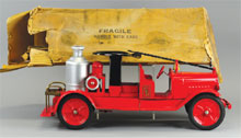Buddy 'L' fire engine with original box, 25 inches, formerly in the company archive collection of retired Buddy 'L' president Richard Keats, estimate $6,000-$7,500. Bertoia Auctions image.