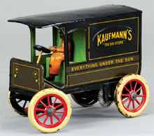 "Hans Eberl ""Kaufmann's Big Store"" delivery van, clockwork driven, German, probably 1920s, scarce promotional toy, estimate $4,000-$5,000. Bertoia Auctions image."