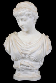 "William Couper (American, 1853-1942) marble bust of a woman signed ""Wm Couper, Florence,"" estimate $2,000-$4,000. Nest Egg Auctions image."