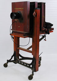 Century View camera No. 8 with Semi-Centennial No. 2 stand, circa 1910, 57 inches tall, from the studio of Alfred Cheney Johnston, estimate $800-$1,000. Nest Egg Auctions image.