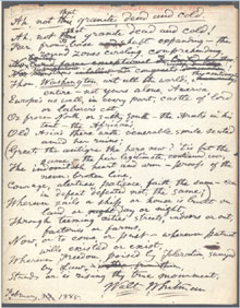 Walt Whitman signed working manuscript of a poem initially titled Ah, not that Granite Dead and Cold and later published as Washington's Monument, $57,750. Dirk Soulis Auctions image.