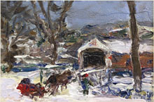 Edward Willis Redfield (New Hope school, Pa., 1869-1965), From Lumberville to Raven Rock, oil on panel, 4½ by 6 inches. William H. Bunch Auctions image.