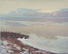 Charles Rosen (New Hope school, Pa., 1878-1950), Delaware Thawing (Delaware Quarries), oil on canvas, 32 by 40 inches. William H. Bunch Auctions image.