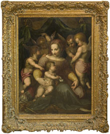 Old Master school, Madonna with Child surrounded by cherubs, 17th/18th century, oil on canvas, 47 by 38 inches. William H. Bunch Auctions image.