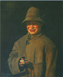 Charles Spencelayh (English, 1865-1958), Matchstick Boy, oil on canvas, 18 by 14 inches. William H. Bunch Auctions image.
