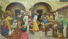 Richard C. Baldwin (American/Philadelphia, b. 1911-), Guadalupe, Mexico, oil on canvas, 32 by 56 inches. William H. Bunch Auctions image.
