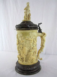German carved ivory tankard, 19th century. Don Presley Auctions image.