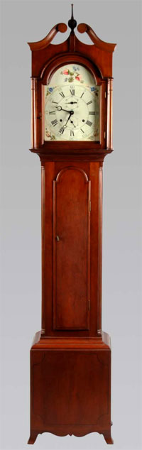 Circa-1795 Eli Terry tall case clock, one of only three whose movement and case were both crafted by Terry himself, est. $20,000-$30,000. Morphy Auctions image.
