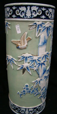 19th century Chinese celadon porcelain umbrella stand from the Kowalski residence. Tonya A. Cameron Auctioneers image.