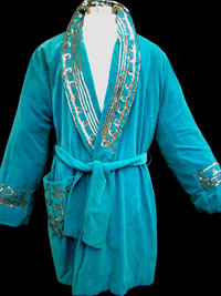 One of three flashy robes to be auctioned, each worn by Killer Kowalski in the ring prior to important matches. Tonya A. Cameron Auctioneers image.