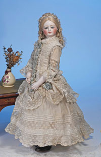 Circa-1870 Louis Doleac signed French bisque poupee, $9,200. Image by Frasher's Doll Auctions.