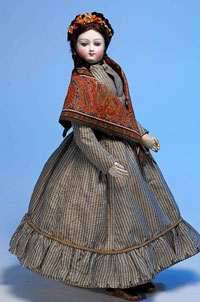 1872 French bisque poupee by Bru Jeune et Cie., 16 inches with 'E' mark, $3,737. Image by Frasher's Doll Auctions.