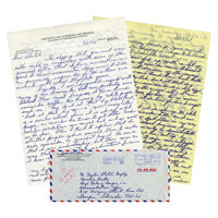 "Two handwritten letters about Lew Alcindor that UCLA Bruins coach John Wooden sent in 1968 to Hall of Famer and close friend Charles ""Stretch"" Murphy. Grey Flannel Auctions image."